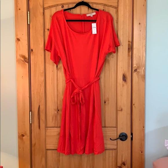 LOFT Dresses & Skirts - Loft Tie Waist Flounce Dress